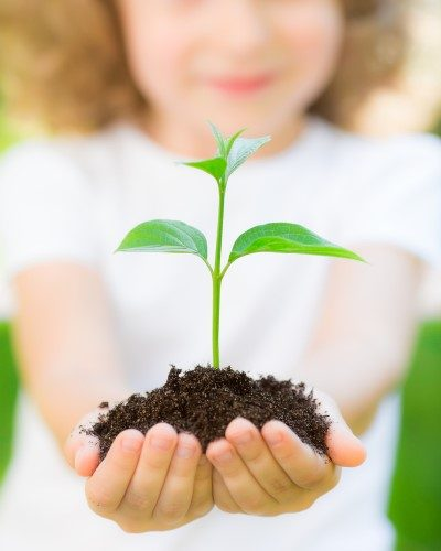 bambina con pianta